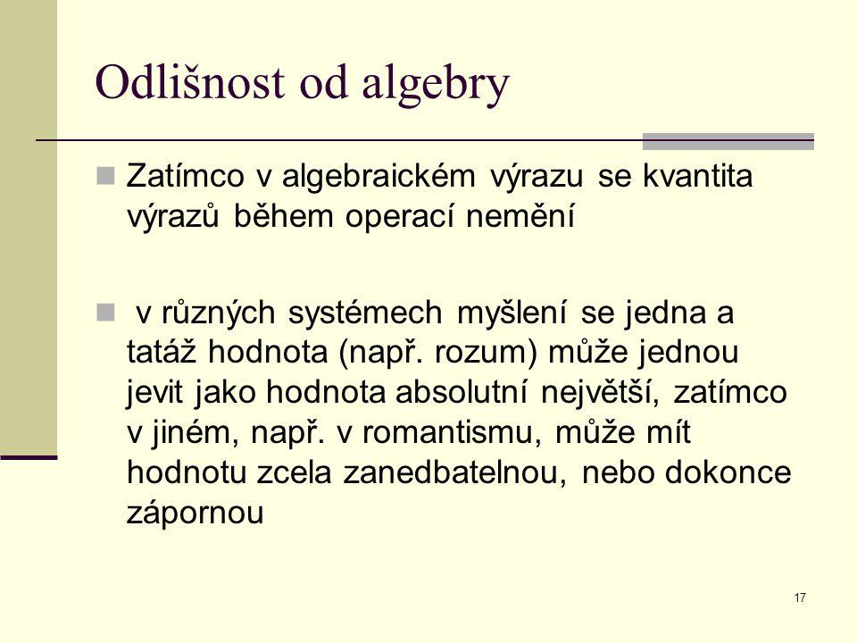 17 Odlišnost od algebry Zatímco v algebraickém výrazu se kvantita výrazů během operací nemění v různých systémech myšlení se jedna a tatáž hodnota (např.