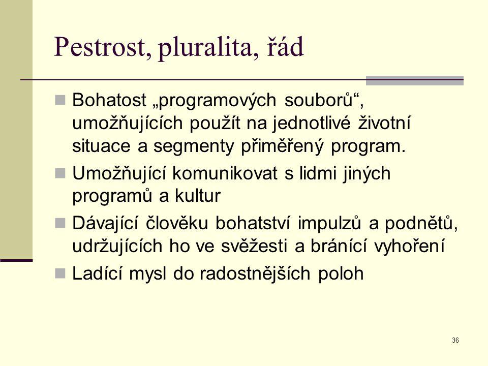 """36 Pestrost, pluralita, řád Bohatost """"programových souborů , umožňujících použít na jednotlivé životní situace a segmenty přiměřený program."""