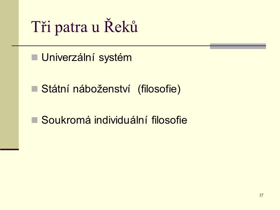 37 Tři patra u Řeků Univerzální systém Státní náboženství (filosofie) Soukromá individuální filosofie