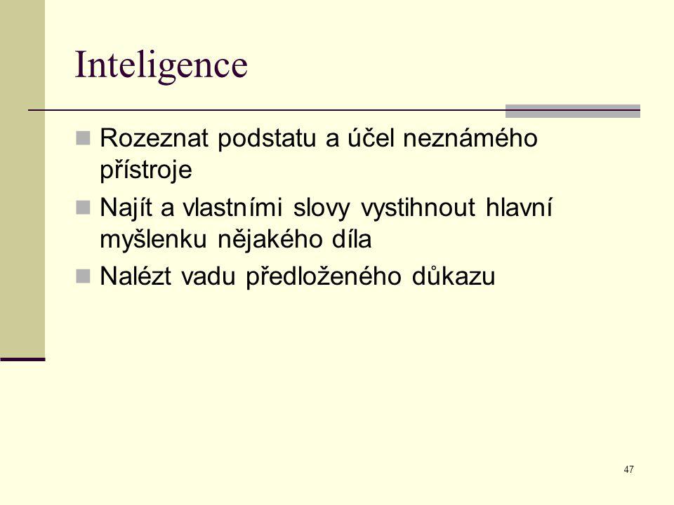 47 Inteligence Rozeznat podstatu a účel neznámého přístroje Najít a vlastními slovy vystihnout hlavní myšlenku nějakého díla Nalézt vadu předloženého důkazu