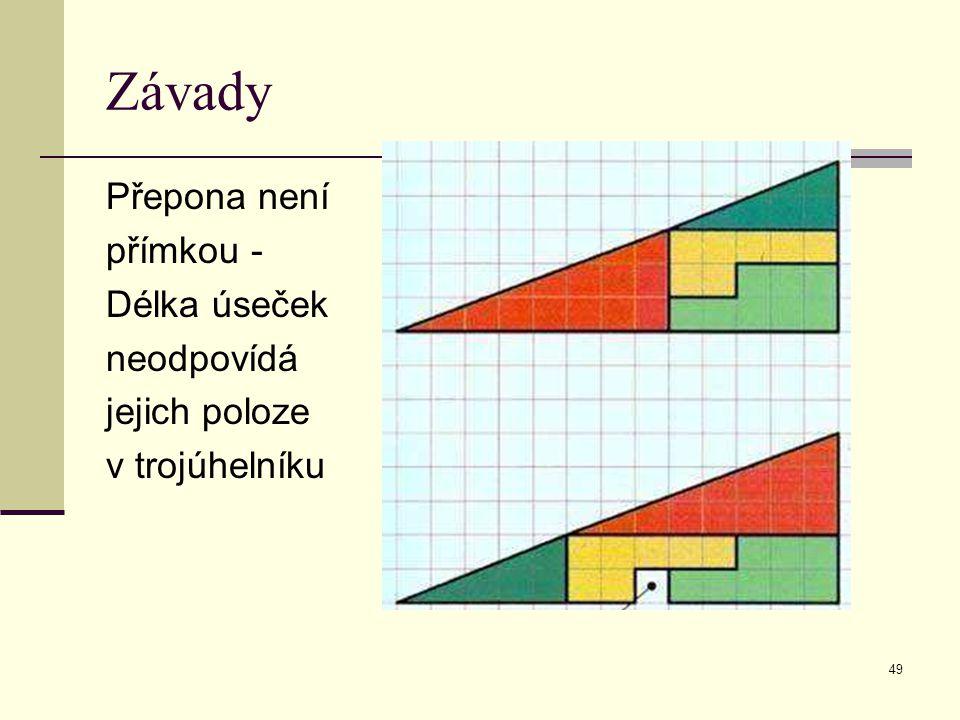 49 Závady Přepona není přímkou - Délka úseček neodpovídá jejich poloze v trojúhelníku