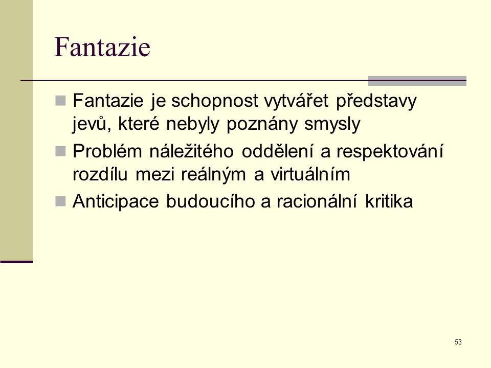 53 Fantazie Fantazie je schopnost vytvářet představy jevů, které nebyly poznány smysly Problém náležitého oddělení a respektování rozdílu mezi reálným a virtuálním Anticipace budoucího a racionální kritika