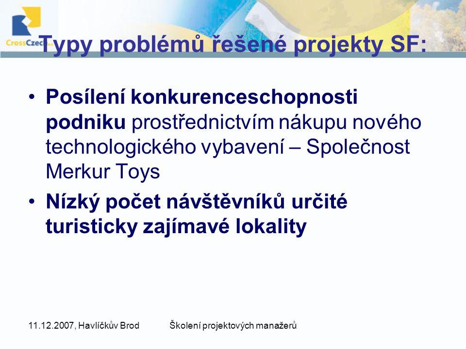 11.12.2007, Havlíčkův BrodŠkolení projektových manažerů Typy problémů řešené projekty SF: Posílení konkurenceschopnosti podniku prostřednictvím nákupu