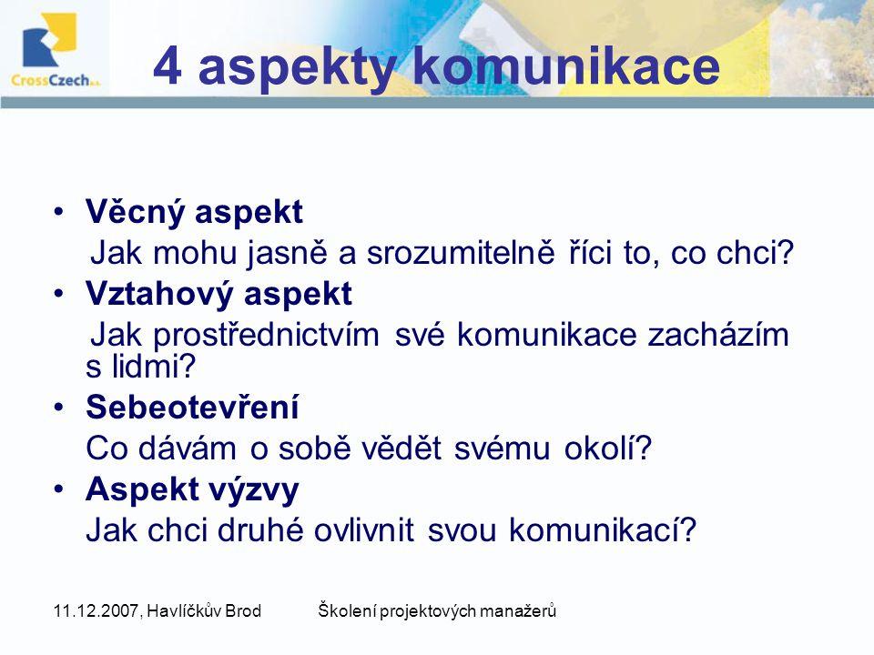 11.12.2007, Havlíčkův BrodŠkolení projektových manažerů 4 aspekty komunikace Věcný aspekt Jak mohu jasně a srozumitelně říci to, co chci? Vztahový asp