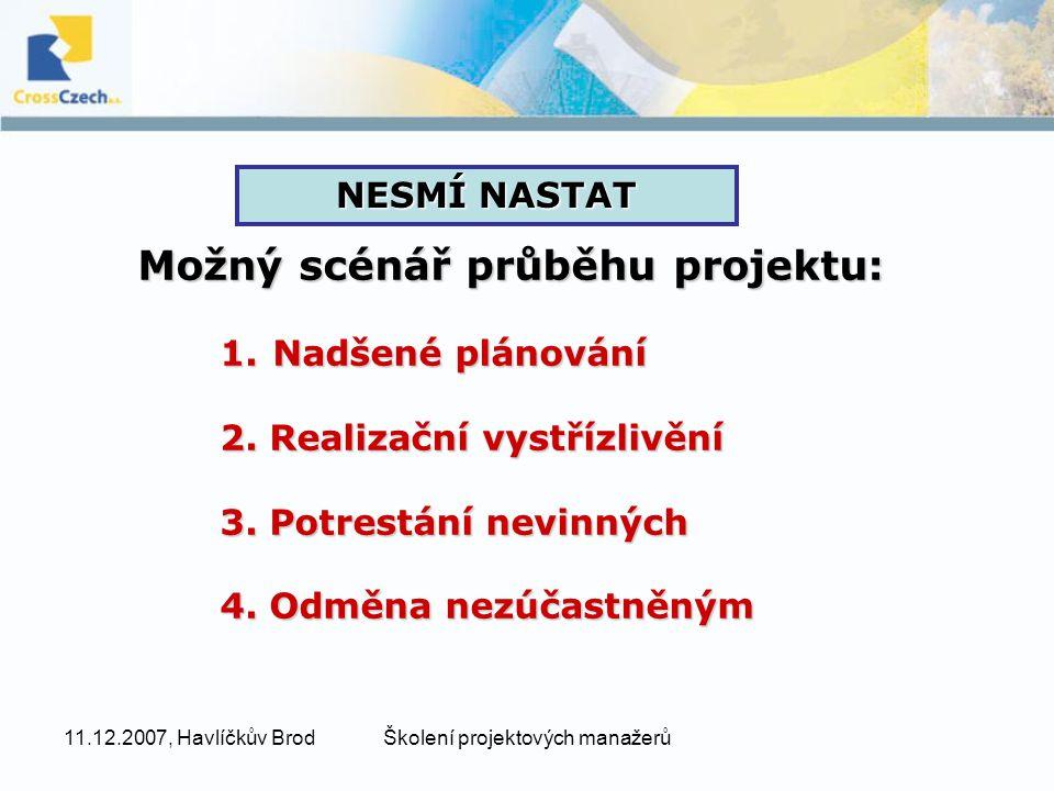 11.12.2007, Havlíčkův BrodŠkolení projektových manažerů Možný scénář průběhu projektu: 1.Nadšené plánování 2.