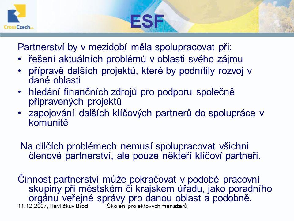 11.12.2007, Havlíčkův BrodŠkolení projektových manažerů ESF Partnerství by v mezidobí měla spolupracovat při: řešení aktuálních problémů v oblasti své