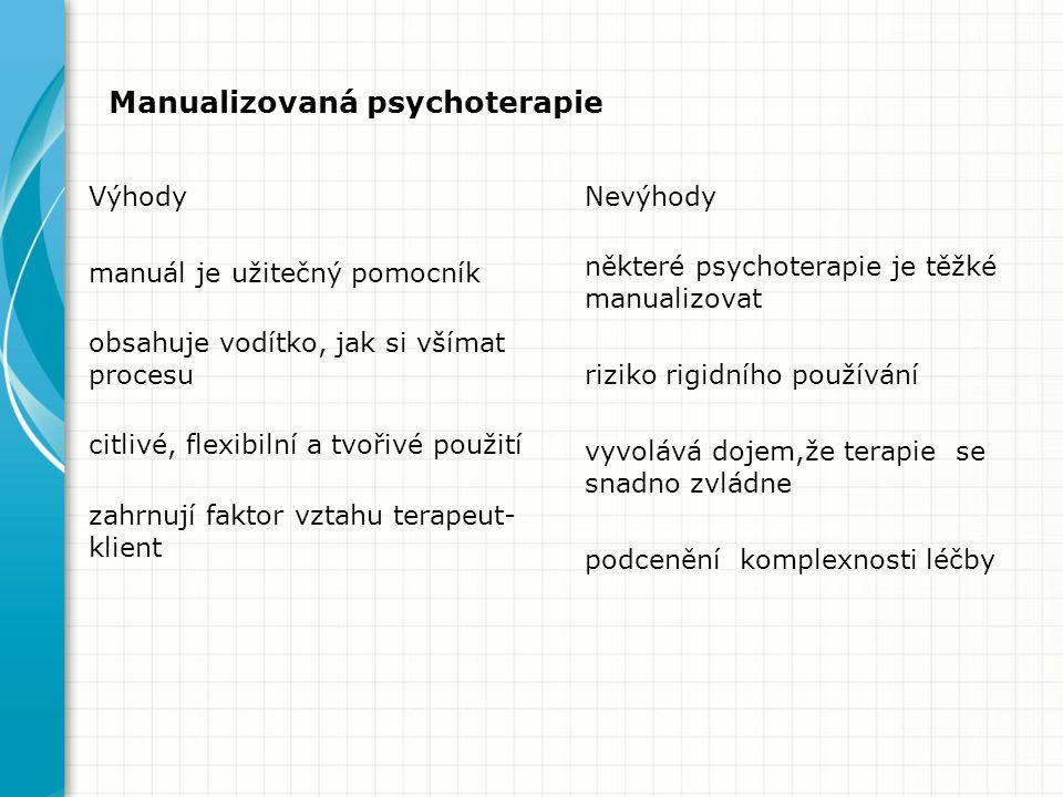 Manualizovaná psychoterapie Výhody manuál je užitečný pomocník obsahuje vodítko, jak si všímat procesu citlivé, flexibilní a tvořivé použití zahrnují faktor vztahu terapeut- klient Nevýhody některé psychoterapie je těžké manualizovat riziko rigidního používání vyvolává dojem,že terapie se snadno zvládne podcenění komplexnosti léčby