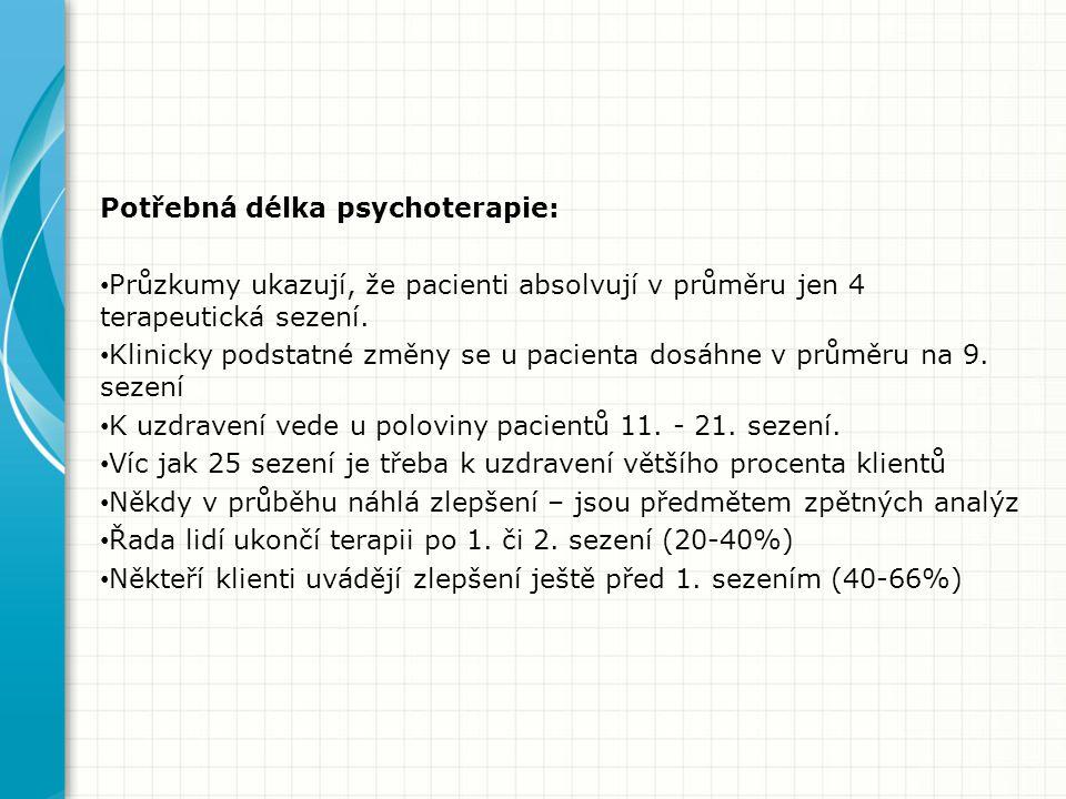Potřebná délka psychoterapie: Průzkumy ukazují, že pacienti absolvují v průměru jen 4 terapeutická sezení.
