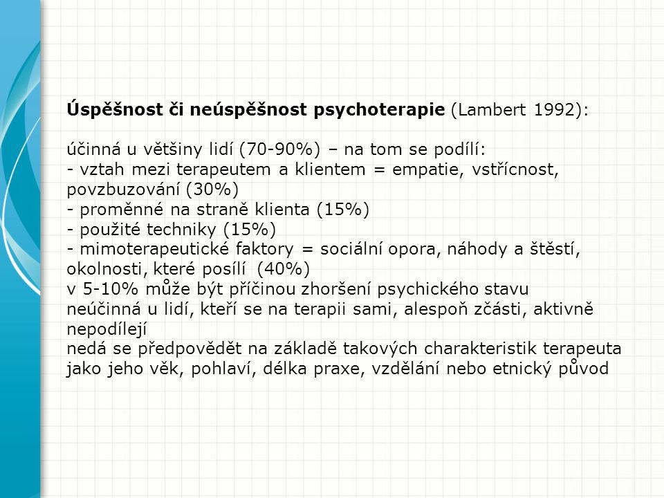 Úspěšnost či neúspěšnost psychoterapie (Lambert 1992): účinná u většiny lidí (70-90%) – na tom se podílí: - vztah mezi terapeutem a klientem = empatie, vstřícnost, povzbuzování (30%) - proměnné na straně klienta (15%) - použité techniky (15%) - mimoterapeutické faktory = sociální opora, náhody a štěstí, okolnosti, které posílí (40%) v 5-10% může být příčinou zhoršení psychického stavu neúčinná u lidí, kteří se na terapii sami, alespoň zčásti, aktivně nepodílejí nedá se předpovědět na základě takových charakteristik terapeuta jako jeho věk, pohlaví, délka praxe, vzdělání nebo etnický původ