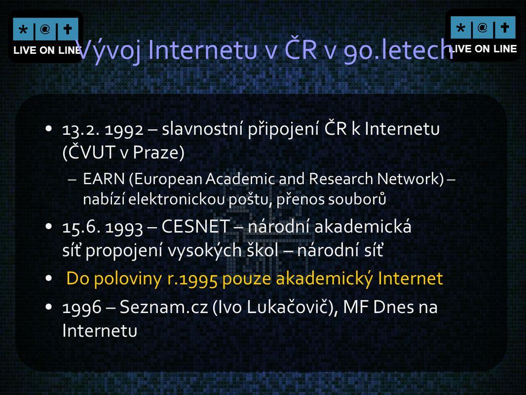 LIVE ON LINE Vývoj Internetu v ČR v 90.letech 13.2. 1992 – slavnostní připojení ČR k Internetu (ČVUT v Praze) –EARN (European Academic and Research Ne