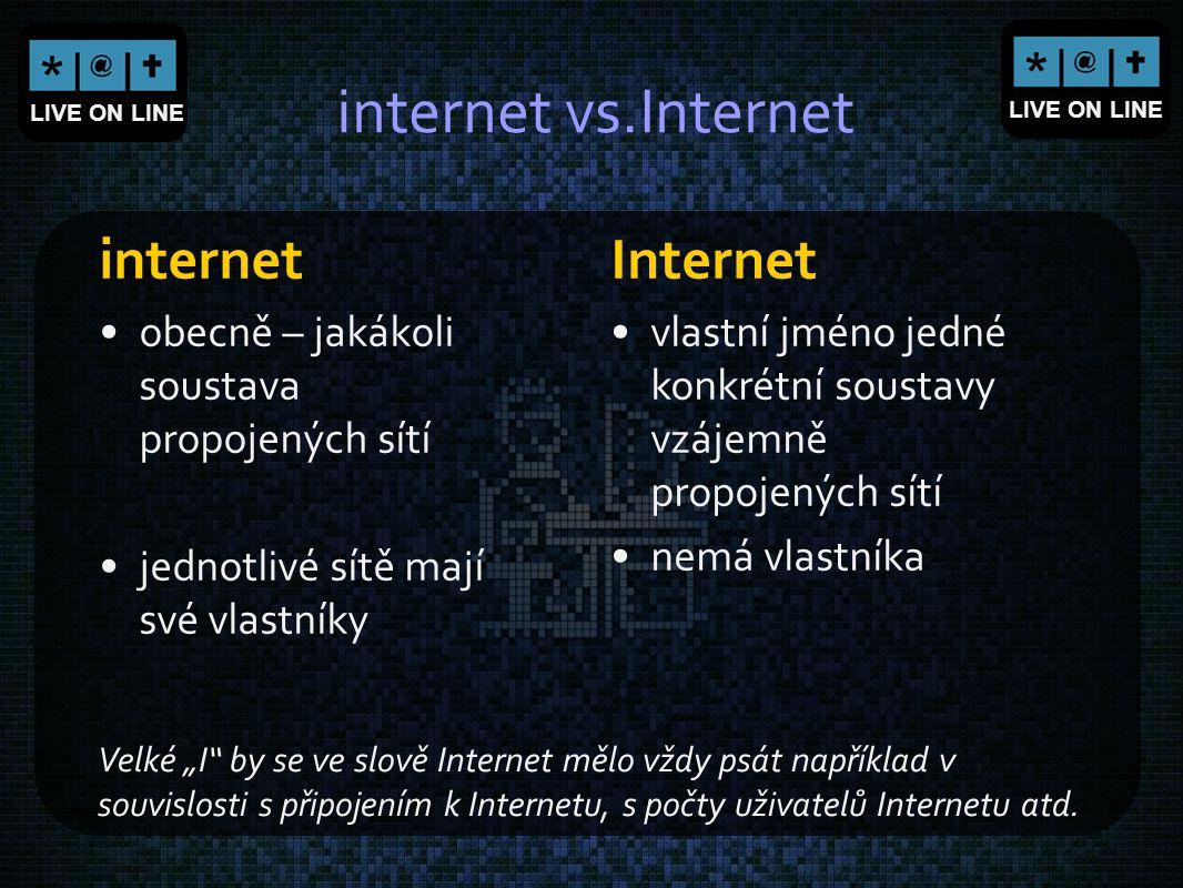 LIVE ON LINE internet vs.Internet internet obecně – jakákoli soustava propojených sítí jednotlivé sítě mají své vlastníky Internet vlastní jméno jedné