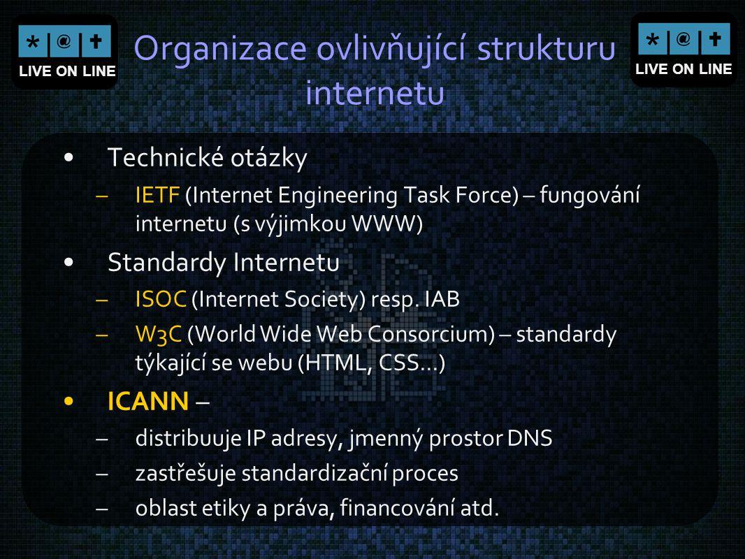 LIVE ON LINE Organizace ovlivňující strukturu internetu Technické otázky –IETF (Internet Engineering Task Force) – fungování internetu (s výjimkou WWW