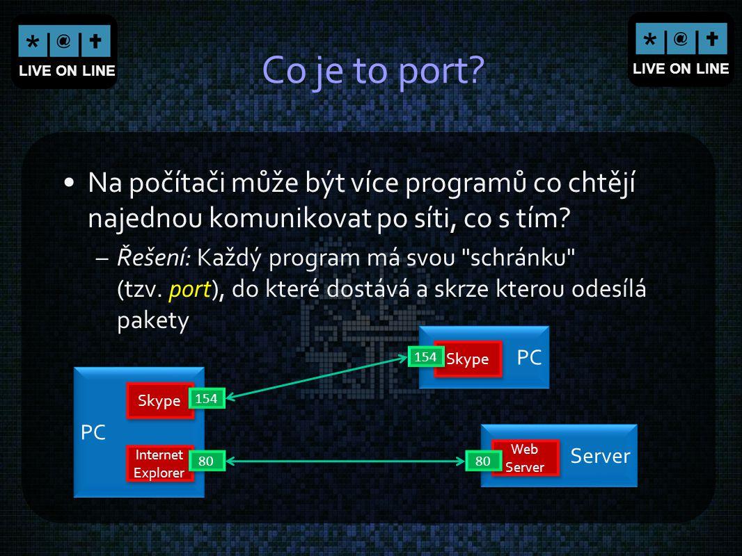 LIVE ON LINE Co je to port? Na počítači může být více programů co chtějí najednou komunikovat po síti, co s tím? –Řešení: Každý program má svou