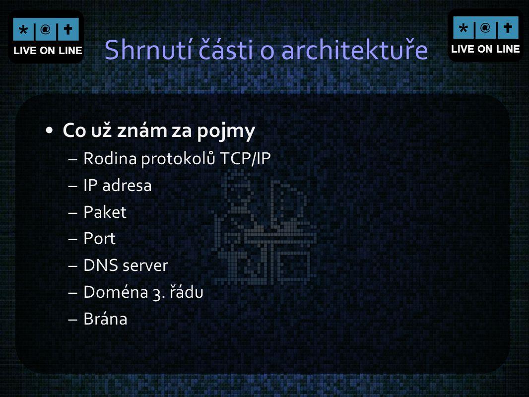 LIVE ON LINE Shrnutí části o architektuře Co už znám za pojmy –Rodina protokolů TCP/IP –IP adresa –Paket –Port –DNS server –Doména 3. řádu –Brána