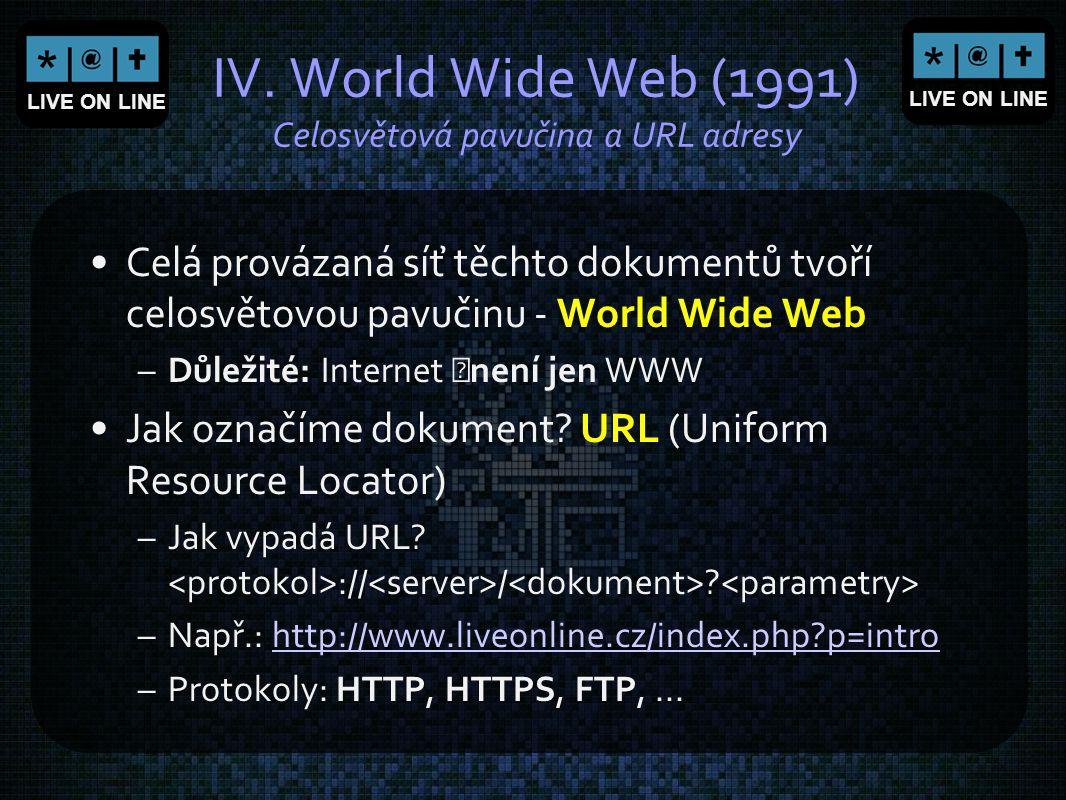 LIVE ON LINE IV. World Wide Web (1991) Celosvětová pavučina a URL adresy Celá provázaná síť těchto dokumentů tvoří celosvětovou pavučinu - World Wide