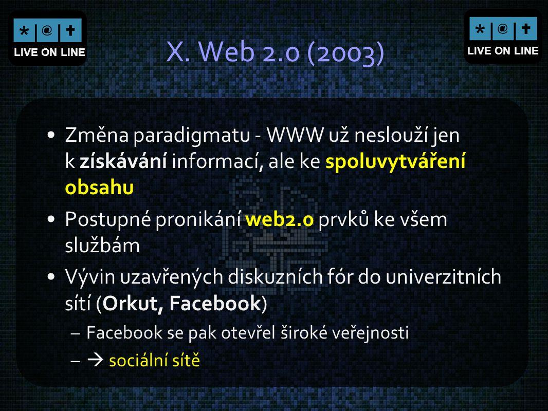 LIVE ON LINE X. Web 2.0 (2003) Změna paradigmatu - WWW už neslouží jen k získávání informací, ale ke spoluvytváření obsahu Postupné pronikání web2.0 p