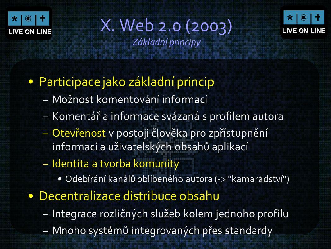 LIVE ON LINE X. Web 2.0 (2003) Základní principy Participace jako základní princip –Možnost komentování informací –Komentář a informace svázaná s prof
