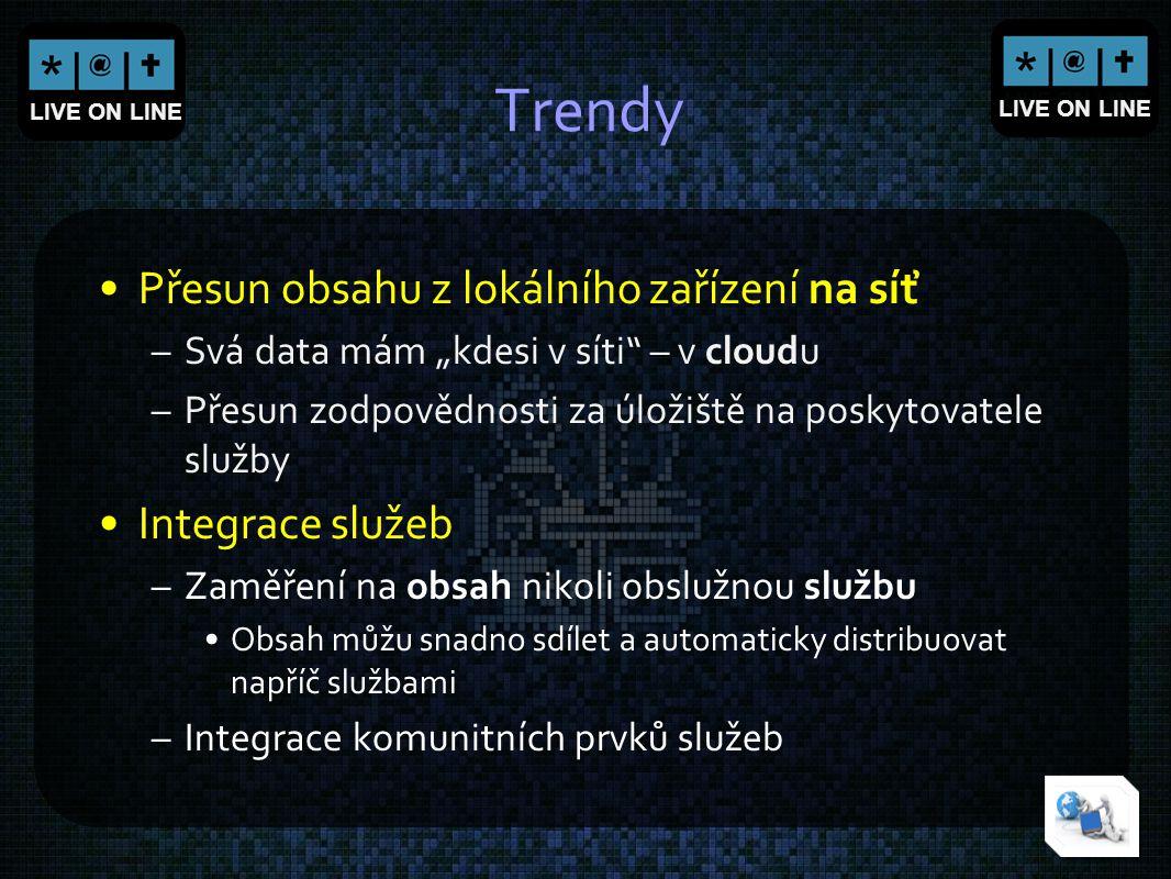 """LIVE ON LINE Trendy Přesun obsahu z lokálního zařízení na síť –Svá data mám """"kdesi v síti"""" – v cloudu –Přesun zodpovědnosti za úložiště na poskytovate"""