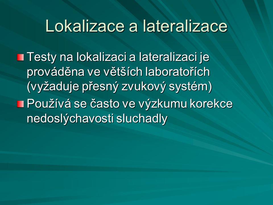 Lokalizace a lateralizace Testy na lokalizaci a lateralizaci je prováděna ve větších laboratořích (vyžaduje přesný zvukový systém) Používá se často ve