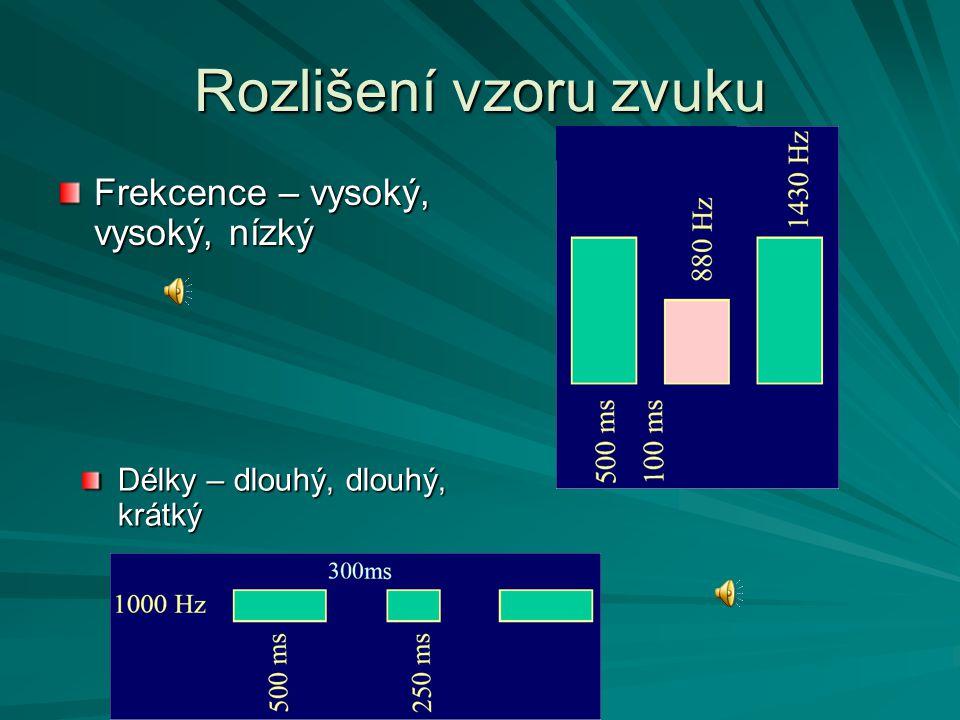 Rozlišení vzoru zvuku Frekcence – vysoký, vysoký, nízký Délky – dlouhý, dlouhý, krátký