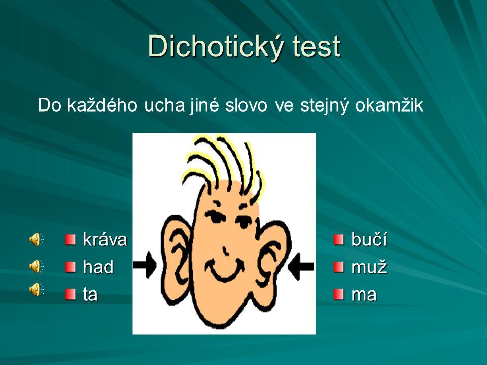 Dichotický test krávahadtabučímužma Do každého ucha jiné slovo ve stejný okamžik