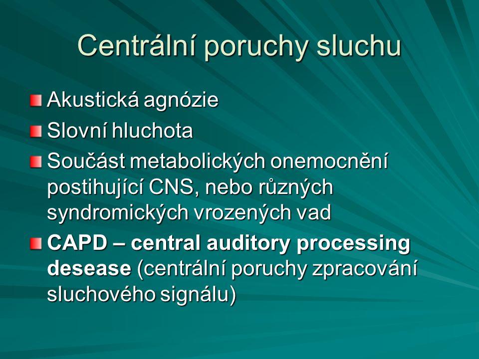CAPD definice Problémy sluchu, které nemůže vysvětlit testy na periferní sluchové funkce (jmenovitě tónovou audiometrií) Sluchový handicap praměnící z poškození mozkových funkcí, charakterizovaný atypickým rozeznáváním, rozlišováním, seskupováním, zařazováním nebo likalizací neřečových zvuků Nejdná se o poškození vyšších centrálních funkcí řečových, nebo jiných kognitivních