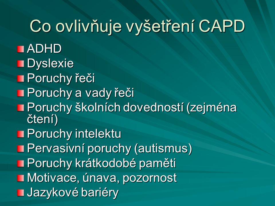 Co ovlivňuje vyšetření CAPD ADHDDyslexie Poruchy řeči Poruchy a vady řeči Poruchy školních dovedností (zejména čtení) Poruchy intelektu Pervasivní por