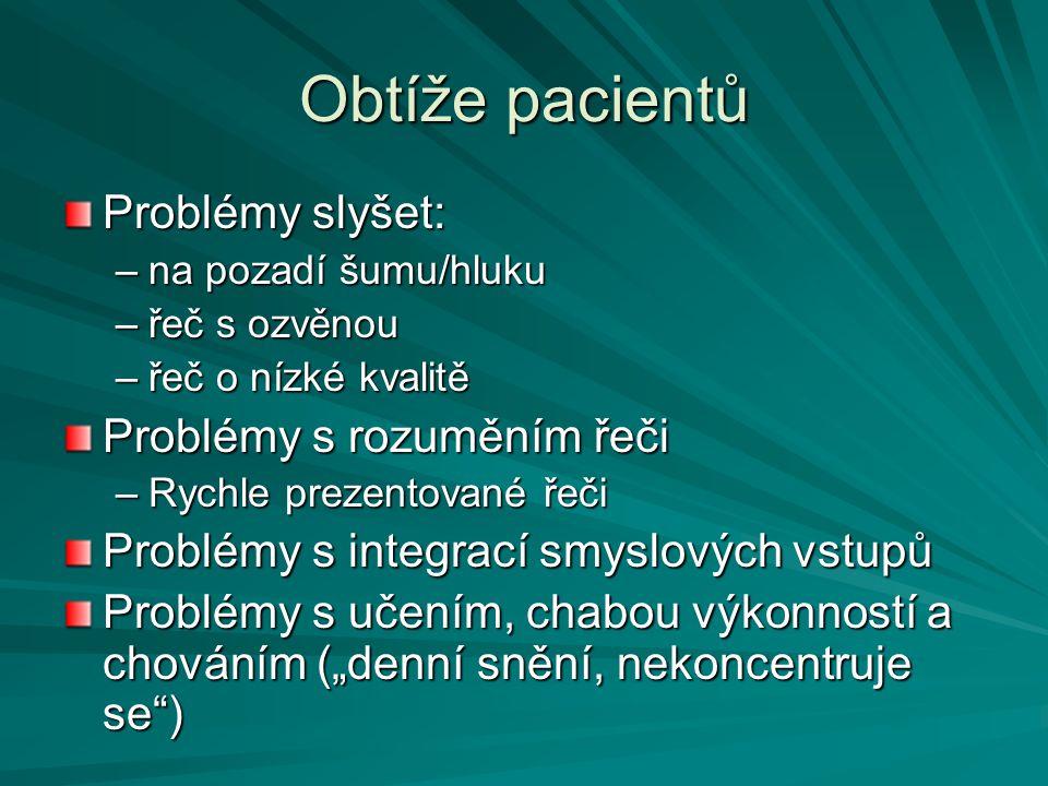 Obtíže pacientů Problémy slyšet: –na pozadí šumu/hluku –řeč s ozvěnou –řeč o nízké kvalitě Problémy s rozuměním řeči –Rychle prezentované řeči Problém