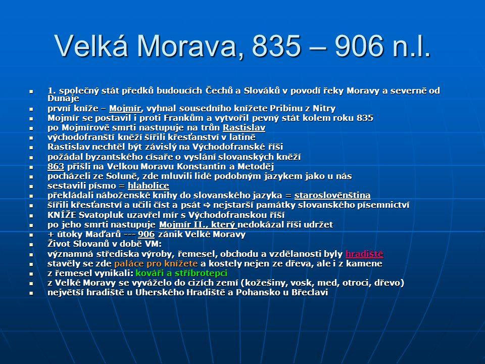 Velká Morava, 835 – 906 n.l. 1. společný stát předků budoucích Čechů a Slováků v povodí řeky Moravy a severně od Dunaje 1. společný stát předků budouc