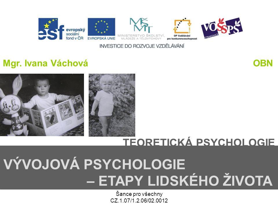 Šance pro všechny CZ.1.07/1.2.06/02.0012 TEORETICKÁ PSYCHOLOGIE VÝVOJOVÁ PSYCHOLOGIE – ETAPY LIDSKÉHO ŽIVOTA Mgr. Ivana VáchováOBN