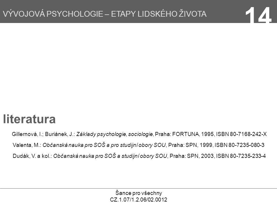 Šance pro všechny CZ.1.07/1.2.06/02.0012 VÝVOJOVÁ PSYCHOLOGIE – ETAPY LIDSKÉHO ŽIVOTA 14 literatura Gillernová, I.; Buriánek, J.: Základy psychologie,