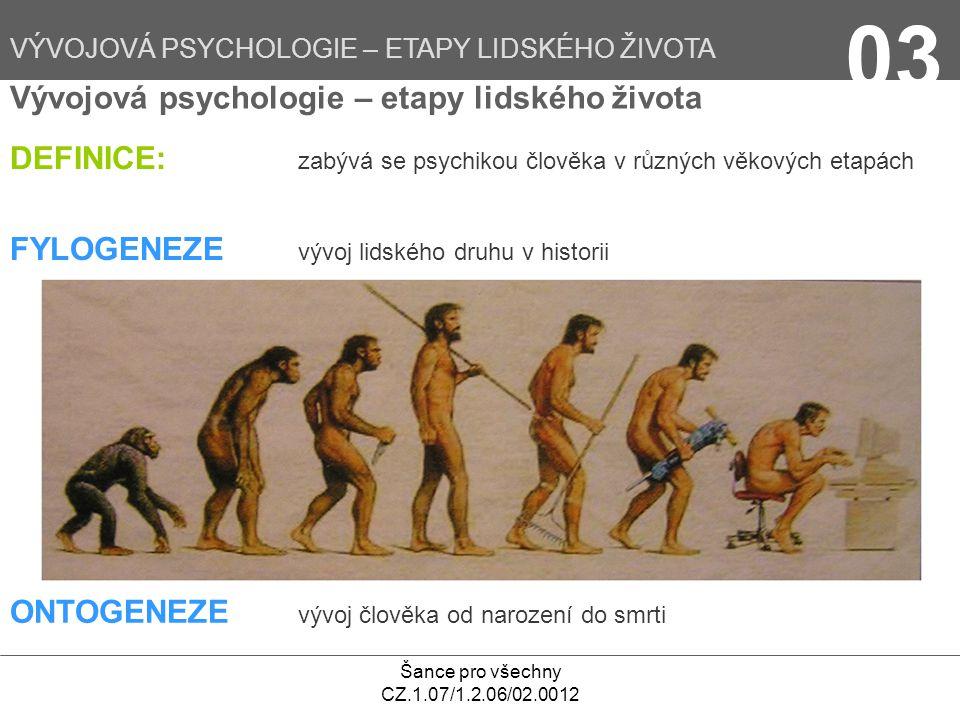 Šance pro všechny CZ.1.07/1.2.06/02.0012 Vývojová psychologie – etapy lidského života DEFINICE: zabývá se psychikou člověka v různých věkových etapách