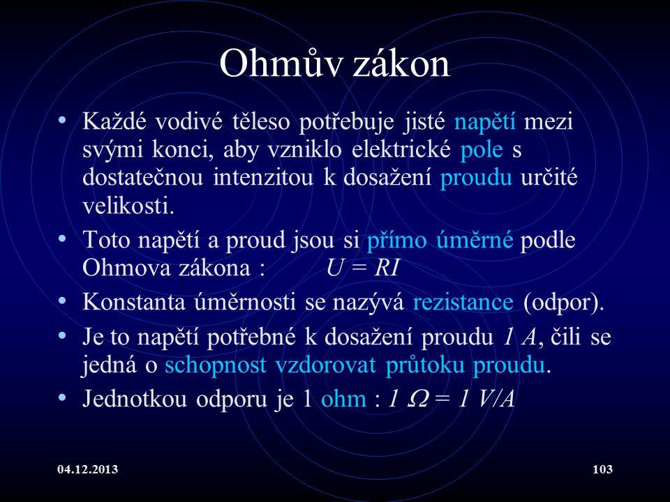 04.12.2013103 Ohmův zákon Každé vodivé těleso potřebuje jisté napětí mezi svými konci, aby vzniklo elektrické pole s dostatečnou intenzitou k dosažení