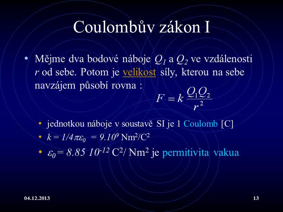 04.12.201313 Coulombův zákon I Mějme dva bodové náboje Q 1 a Q 2 ve vzdálenosti r od sebe. Potom je velikost síly, kterou na sebe navzájem působí rovn