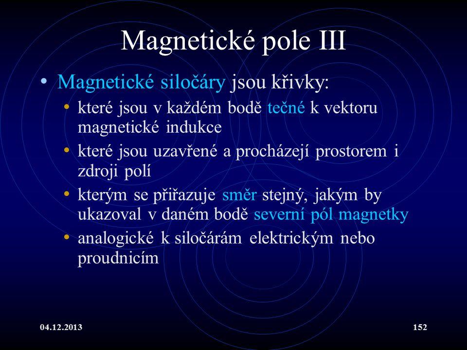 04.12.2013152 Magnetické pole III Magnetické siločáry jsou křivky: které jsou v každém bodě tečné k vektoru magnetické indukce které jsou uzavřené a p