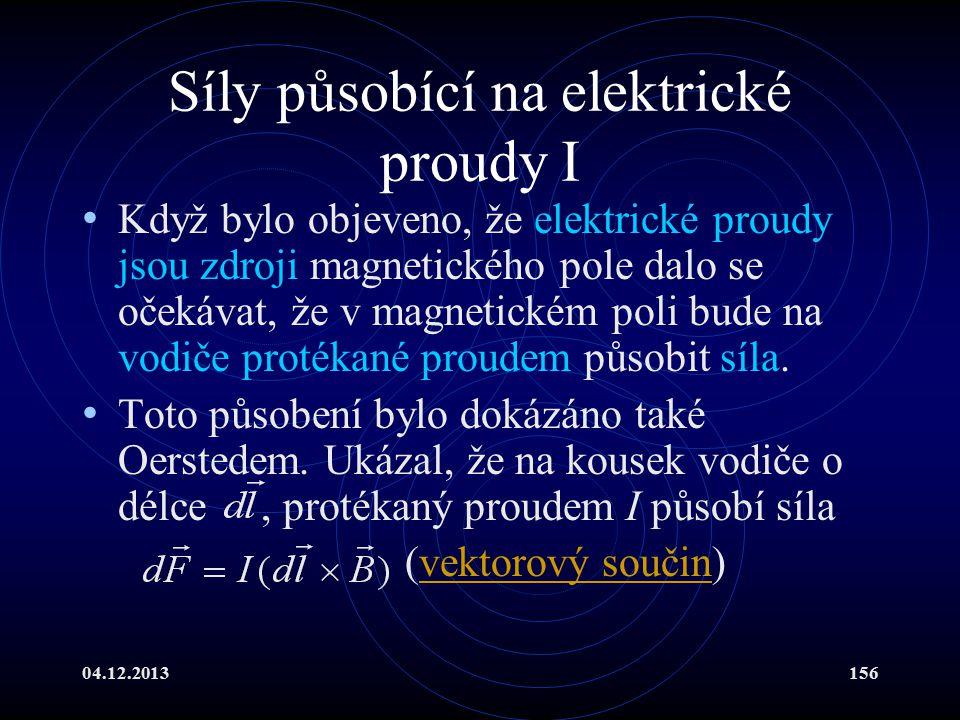 04.12.2013156 Síly působící na elektrické proudy I Když bylo objeveno, že elektrické proudy jsou zdroji magnetického pole dalo se očekávat, že v magne