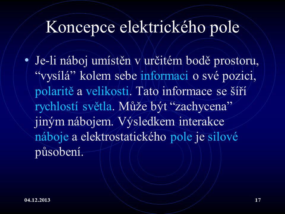 """04.12.201317 Koncepce elektrického pole Je-li náboj umístěn v určitém bodě prostoru, """"vysílá"""" kolem sebe informaci o své pozici, polaritě a velikosti."""