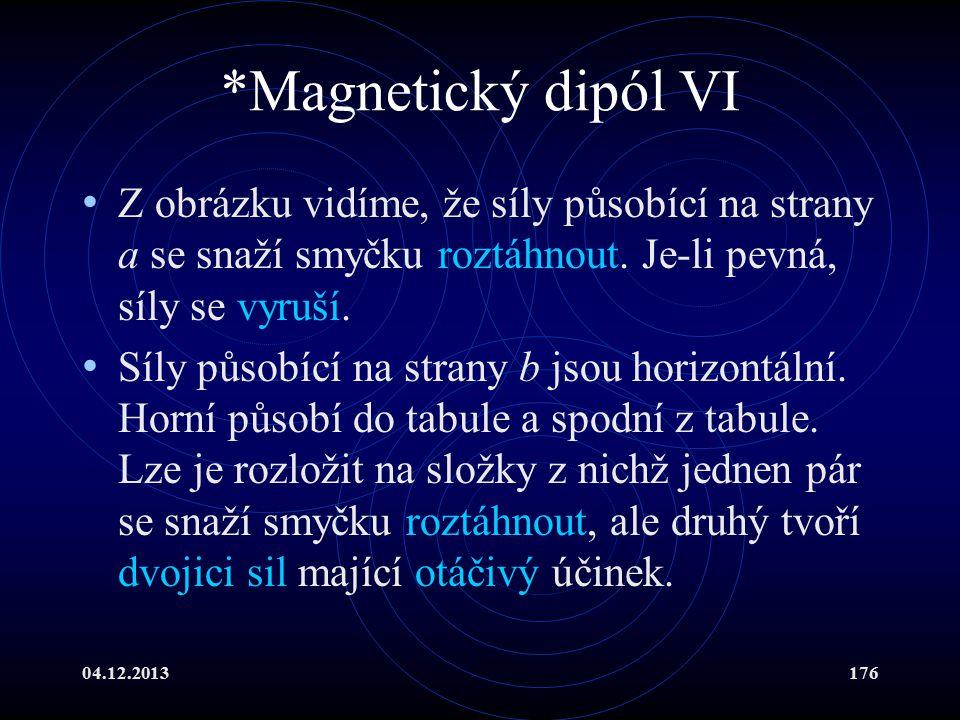 04.12.2013176 *Magnetický dipól VI Z obrázku vidíme, že síly působící na strany a se snaží smyčku roztáhnout. Je-li pevná, síly se vyruší. Síly působí