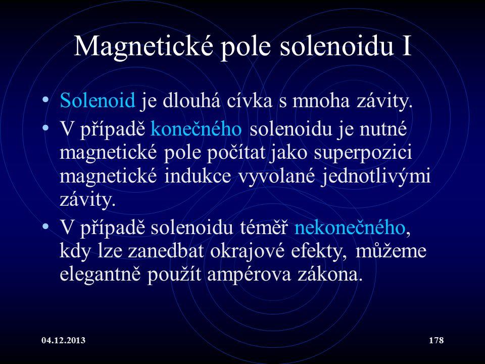 04.12.2013178 Magnetické pole solenoidu I Solenoid je dlouhá cívka s mnoha závity. V případě konečného solenoidu je nutné magnetické pole počítat jako