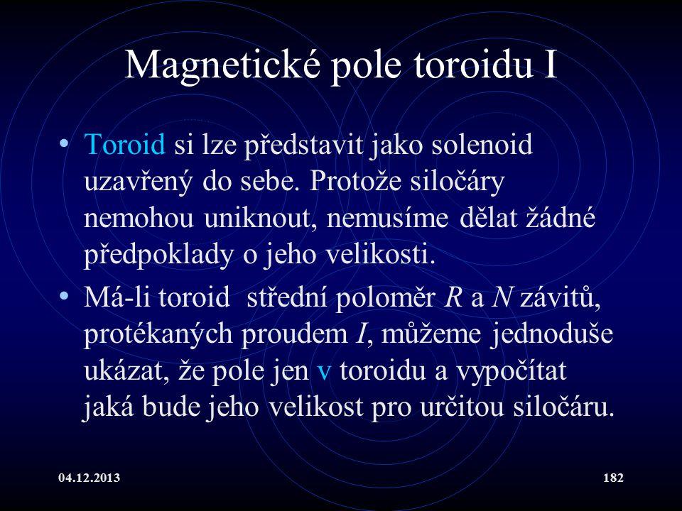 04.12.2013182 Magnetické pole toroidu I Toroid si lze představit jako solenoid uzavřený do sebe. Protože siločáry nemohou uniknout, nemusíme dělat žád