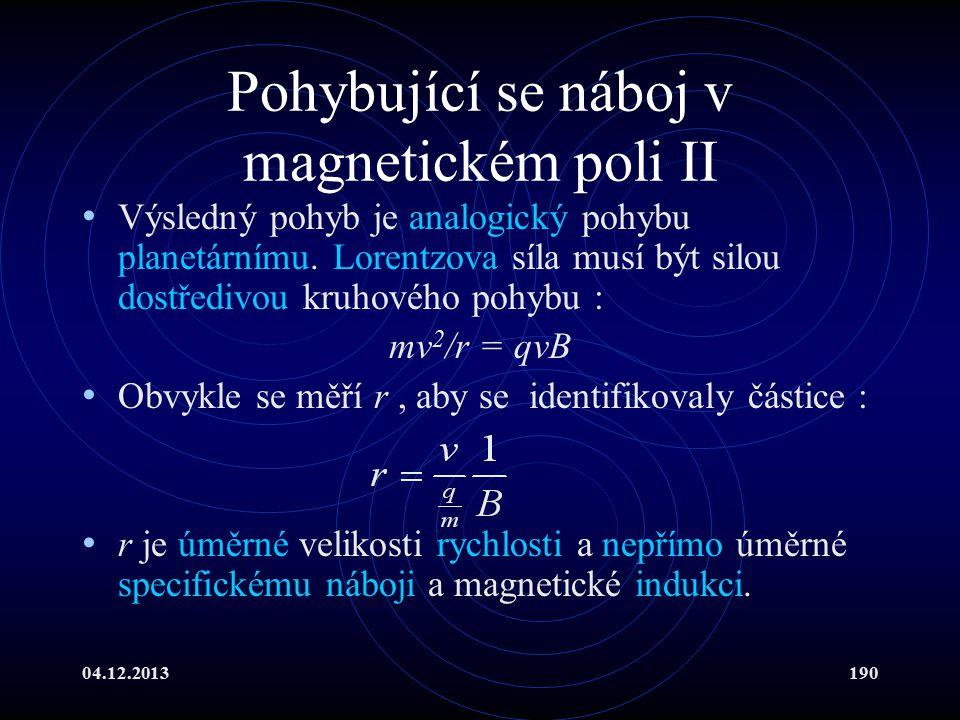 04.12.2013190 Pohybující se náboj v magnetickém poli II Výsledný pohyb je analogický pohybu planetárnímu. Lorentzova síla musí být silou dostředivou k