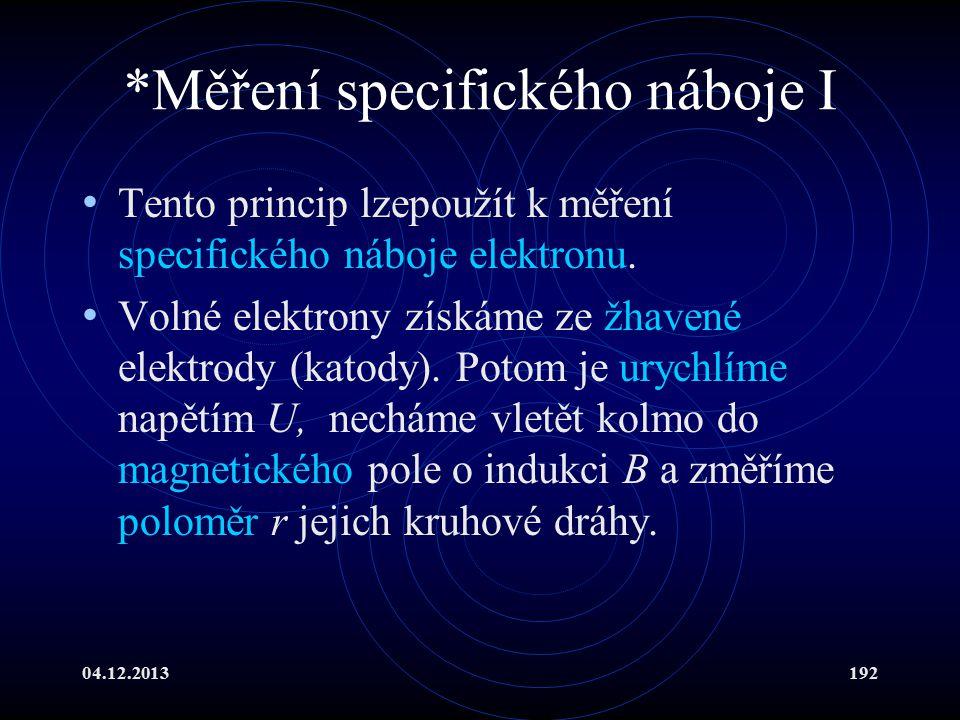 04.12.2013192 *Měření specifického náboje I Tento princip lzepoužít k měření specifického náboje elektronu. Volné elektrony získáme ze žhavené elektro