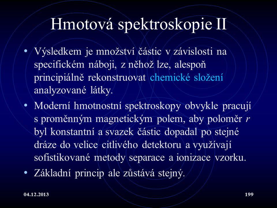 04.12.2013199 Hmotová spektroskopie II Výsledkem je množství částic v závislosti na specifickém náboji, z něhož lze, alespoň principiálně rekonstruova