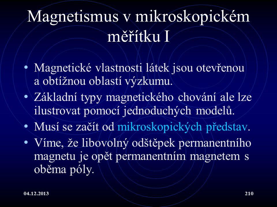 04.12.2013210 Magnetismus v mikroskopickém měřítku I Magnetické vlastnosti látek jsou otevřenou a obtížnou oblastí výzkumu. Základní typy magnetického