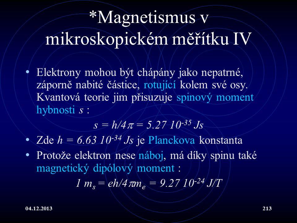 04.12.2013213 *Magnetismus v mikroskopickém měřítku IV Elektrony mohou být chápány jako nepatrné, záporně nabité částice, rotující kolem své osy. Kvan