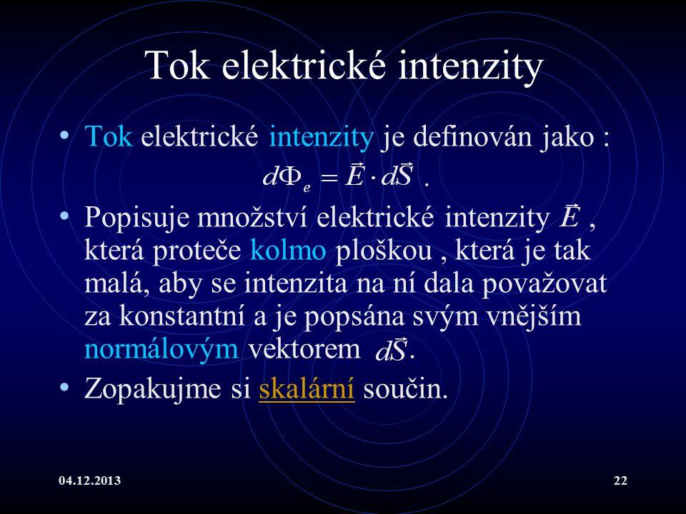 04.12.201322 Tok elektrické intenzity Tok elektrické intenzity je definován jako :. Popisuje množství elektrické intenzity, která proteče kolmo ploško