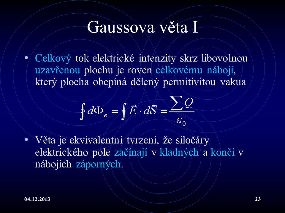04.12.201323 Gaussova věta I Celkový tok elektrické intenzity skrz libovolnou uzavřenou plochu je roven celkovému náboji, který plocha obepíná dělený