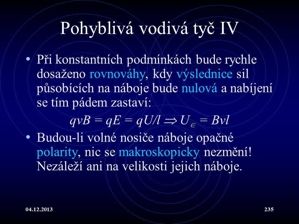 04.12.2013235 Pohyblivá vodivá tyč IV Při konstantních podmínkách bude rychle dosaženo rovnováhy, kdy výslednice sil působících na náboje bude nulová