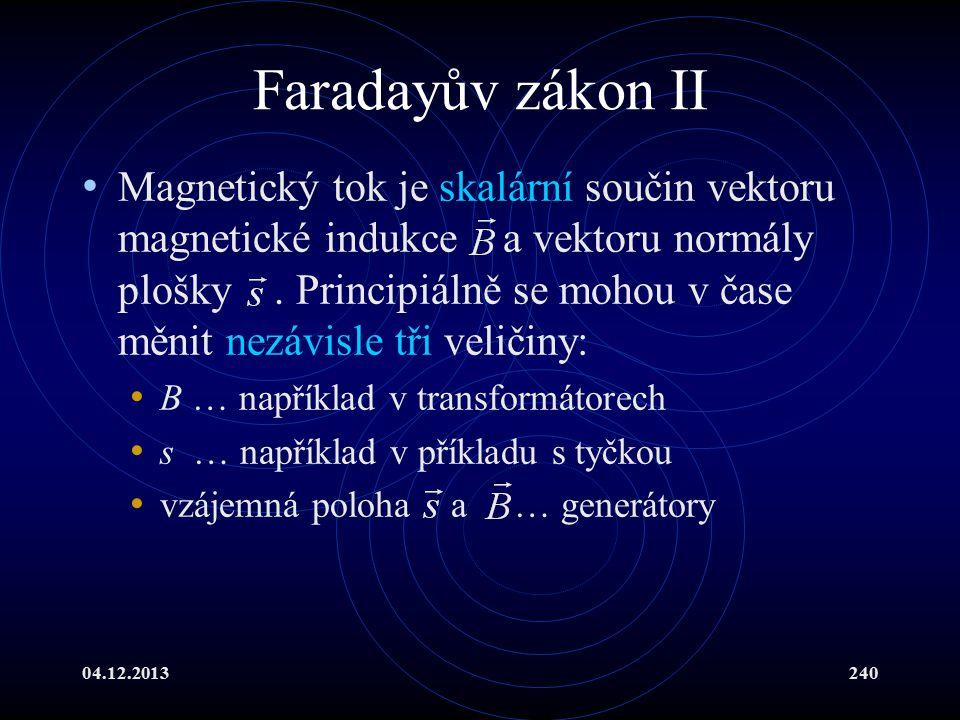 04.12.2013240 Faradayův zákon II Magnetický tok je skalární součin vektoru magnetické indukce a vektoru normály plošky. Principiálně se mohou v čase m