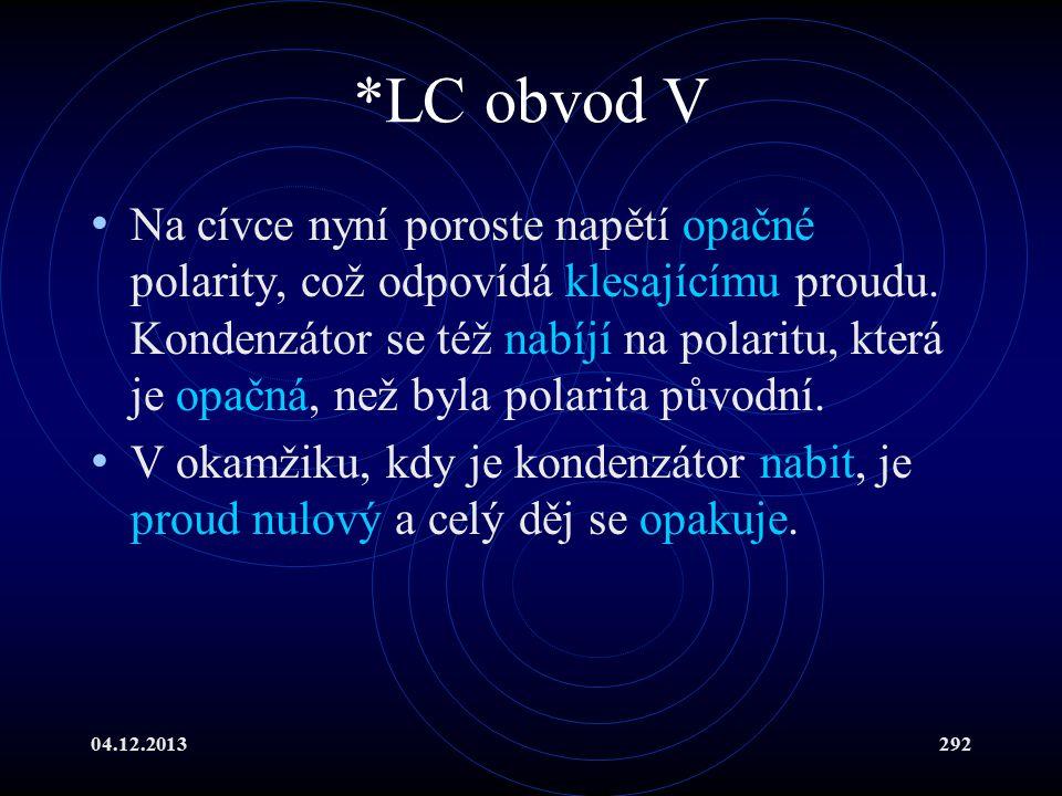 04.12.2013292 *LC obvod V Na cívce nyní poroste napětí opačné polarity, což odpovídá klesajícímu proudu. Kondenzátor se též nabíjí na polaritu, která